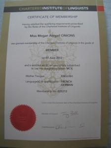 Megan Onions Translator, MCIL Certificate